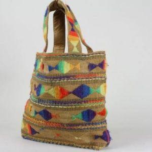 Vintage 80s Ethnic Bright Neon Burlap Woven Bag
